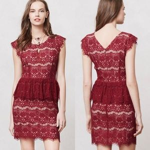 Anthropologie Maeve (Elsa) Red Lace Cocktail Dress